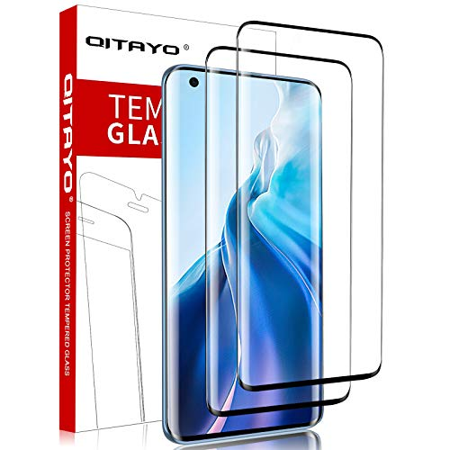 QITAYO Xiaomi Mi 11 / Xiaomi Mi 11 Pro Displayschutzfolie mit Positionierhilfe, [2 Stück] [3D Full Cover] Panzerglas Schutzfolie für Xiaomi Mi 11 / Xiaomi Mi 11 Pro