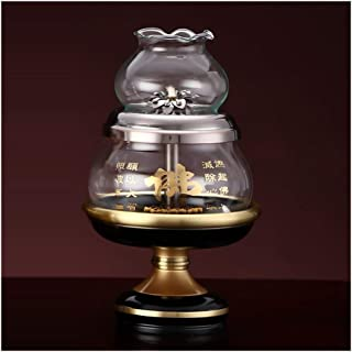 LLNN Windproof Glass Retro Lamp Tibetan Oil Lamp Holder Feng Shui Home Decoration Ornaments (Color : C)