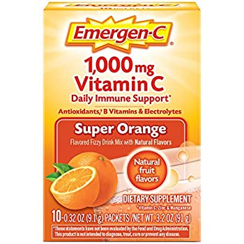 Emergen-C Vitamin C 1000mg Powder  10 Count Super Orange Flavor  With Antioxidants B Vitamins And Electrolytes Dietary Supplement Fizzy Drink Mix Caffeine Free