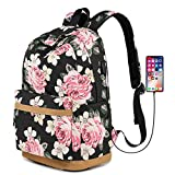 Lmeison Floral Backpack for Teen Girls, Canvas School Bookbag Set Women with USB Charging Port, Waterproof Travel Casual Rose Daypack for Student 15.6 inch Laptop Bag for Middle School, Wear Resistant