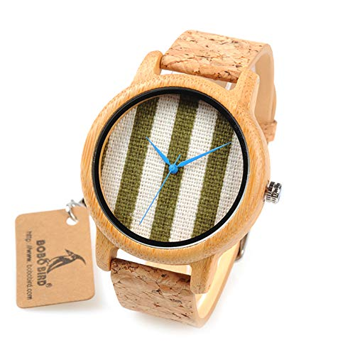 YSCYLY Holz Uhr Handgemachte Bambus Holz Kork Uhr Leinwand Grün Analog Quarz Natürlichen Bambus Handgemacht Für Männer Und Frauen Mit Geschenkbox