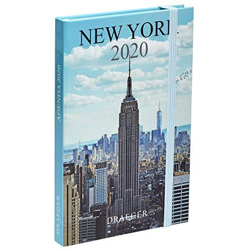 Draeger - Pratik New York 2020 Pocket Agenda - Mini 2020 Agenda illustrata - Cover rigida - Chiusura elastica - Segnalibro in raso - Formato Agenda di New York 9,5 x 14,5 cm.