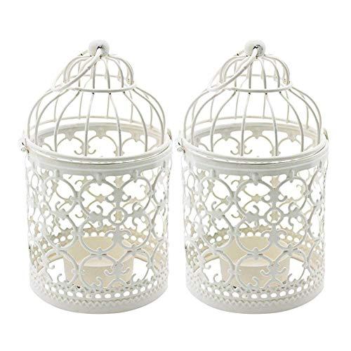 Ciaoed 2 PCS Style De Cage À Oiseaux Creux Motif Bougeoir En Fer Creative Carve Motif Arts Bougeoir pour la Décoration de Fête De Mariage