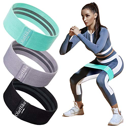 OlarHike Resistance Bands Set for Women Butt and Legs Exercise Workout Elastic Bands for Booty Fabric Glute Hip Thigh Cotton Bands for Yoga Working Out Wide Circle NonSlip Resistance Squat Band