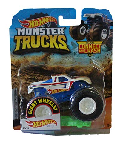 Hot Wheels Monster Trucks 1:64 Scale Racing Truck with Connect Crash Car