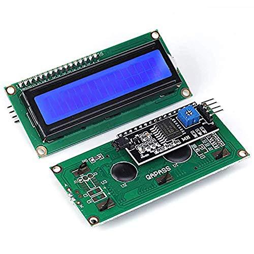 JANSANE 16x2 1602 LCD Display Screen Blue + IIC I2C Module Interface Adapter for Raspberry pi 2 Pack