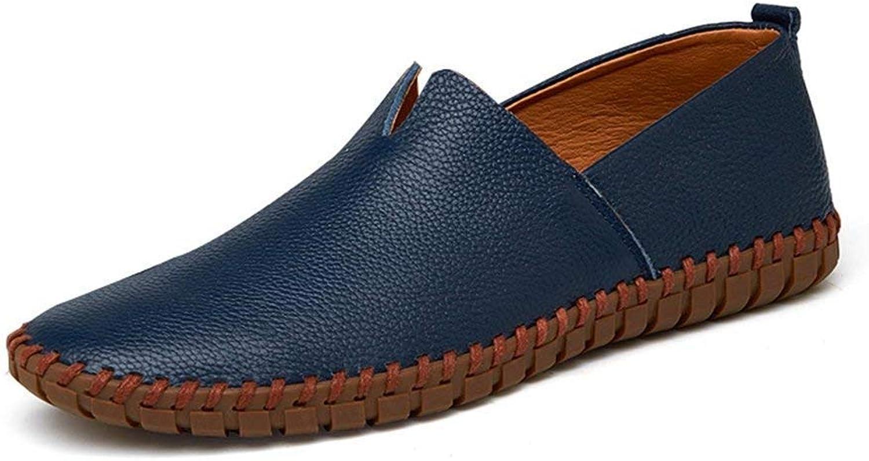 ZHRUI Mens Mens Mens Driving Schuhe aus echtem Leder Müßiggänger Schuhe Mode handgefertigte weiche atmungsaktive Mokassins Wohnungen Slipe On Schuhe (Farbe   Blau, Größe   741 EU) 99431f