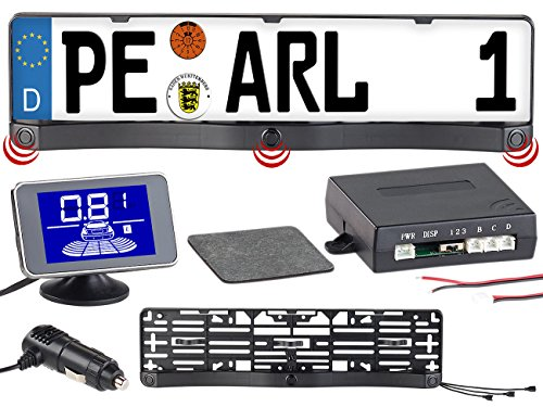 Lescars Rückfahrhilfe: Funk-Ultraschall-Einparkhilfe in Kennzeichen-Halter, mit LCD-Display (Einparkhilfe ohne Bohren)