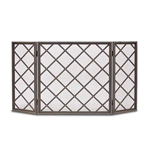 Affordable Screen J-Fireplace 3 Panel Fireplace, Wrought Iron Free Standing Gate, Indoor Large Flat ...