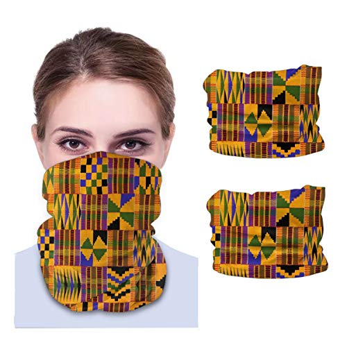 2 Pcs Bandana Face Mask Balaclava Neck Gaiters African Art Symbols Headwear Headband for Women Men Black