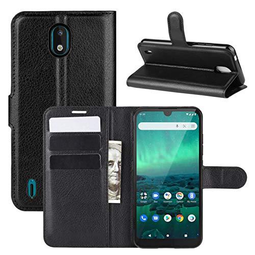 HualuBro Nokia 1.3 Hülle, Premium PU Leder Stoßfest Klapphülle Schutzhülle HandyHülle Handytasche Wallet Flip Case Cover für Nokia 1.3 Tasche (Schwarz)