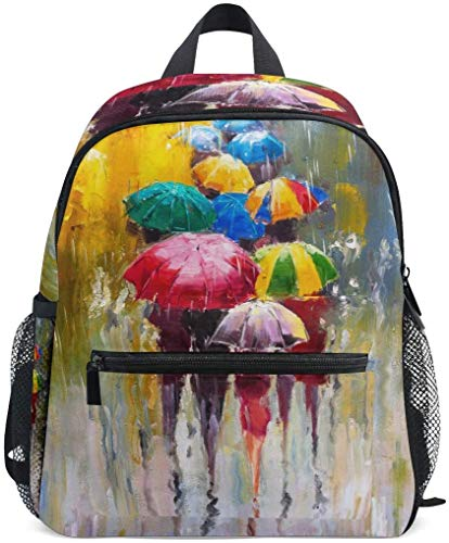 NB UUD Mini Backpack Oil Painting Rainy Day Umbrella Daily Backpack for Travel