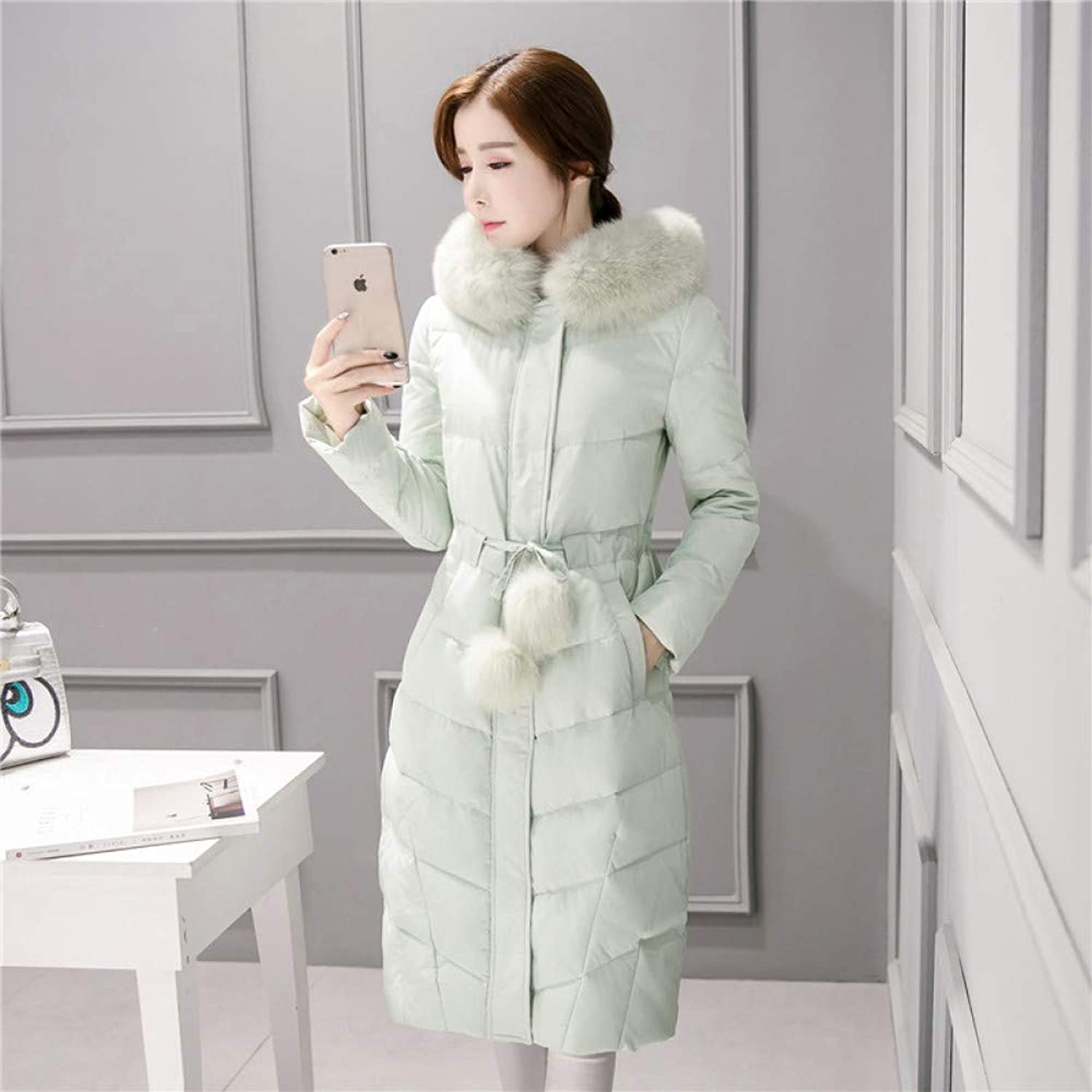 AZW@ down Jacket, Autumn and Winter Women's Long down Jacket, Thick Large Collar Large Size Coat, Slim Slim down Jacket, Jacket
