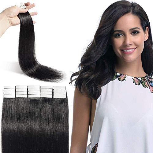 Extension Adhesive Cheveux Naturel - Rajout Cheveux Naturel Pose a Froid 20 Pièces (#01 Noir Foncé, 12\