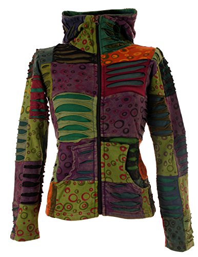 Vishes - Alternative Bekleidung - Stonewash Patchwork Zipfelkapuzenjacke - Unikat Herbsttöne2 36 (S)