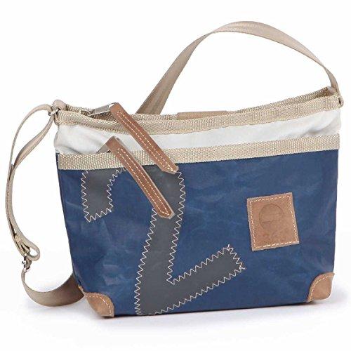 360° Deern Lütt Umhängetasche Segeltuch, kleine Recycling Shopper Handtasche Damen, blau weiß, Zahl grau, Schultertasche Tragetasche Strandtasche Messenger Bag