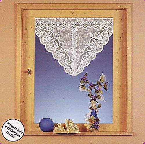 heimtexland Gardinenbox Typ125 Rideau de fenêtre en Jacquard à Triangle courbé avec Fleurs Blanc 60 x 100 cm