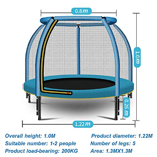 LGPNB 4ft Children trampoline with guard net and Circular safety handrail,Indoor small family bounce bed,Spring Cover Foam Padding, Garden Outdoor,Static load 200KG-blue