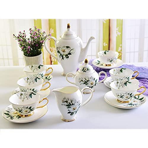 ErZhuiZi Juego de Té de Porcelana Juego de Taza y Platillo de Té Servicio de Café Vintage para 6, con Tetera, Azucarero, Jarra de Crema, Cucharas