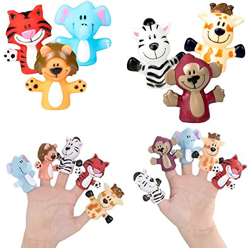 The Dreidel Company Zoo Animal Finger Puppet, Fun Party Favors (6-Pack)