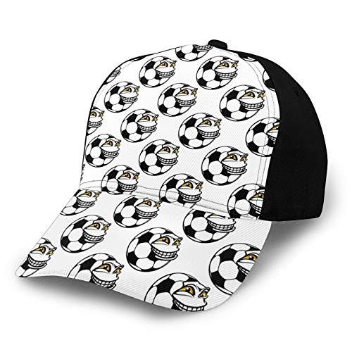 FULIYA Gorro de béisbol unisex de algodón de perfil bajo lavado en blanco con diseño de dibujos animados de fútbol Mascota con juego de deportes de expresión de cara feliz divertido