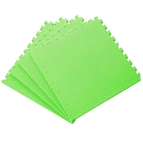 WUZMING-Tapis Puzzle En Mousse Tuiles Imbriquées Doux Tampon Activités for Enfants Remise en Forme De Yoga Intérieur Tapis De Protection De Sol, 7 Couleurs (Color : Green, Size : 60x60x2.3cm-9pcs)