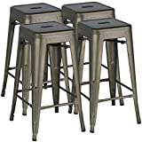 Yaheetech 30 inches Metal Bar Stools High Backless Bar Height stools Stackable Chairs,Set of 4,Metal