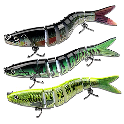 Fishing Lures Bass Trout Segmented Multi Jointed Lifelike Artificial Swimbaits Slow Sinking Swimming Suitable Bait Gift Kit for Seawater and Freshwater 3PCS