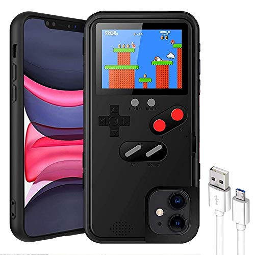 Gameboy Case for iPhone 12promax,Built-in 36 Retro Games,kobwa Mario Nintendo Games,Screen Protector,Full Color Screen Video Game Console Case for iPhone (Black)