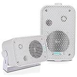 Dual Waterproof Outdoor Speaker System - 3.5 Inch Pair of Weatherproof Wall/Ceiling Mounted Speakers w/Heavy...
