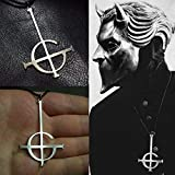 Davitu Ghost bc Nameless Ghoul Necklace Pendant Ghost Band Grucifix Papa Emeritus Patch Jewelry - (Metal Color: 57x38 mm)