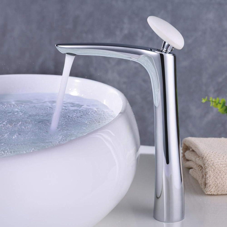 Bathroom Sink Taps Brass High Chrome Bath Basin Faucet Bathroom Water Sink tap Mixer Crane Torneira with White Round Handle