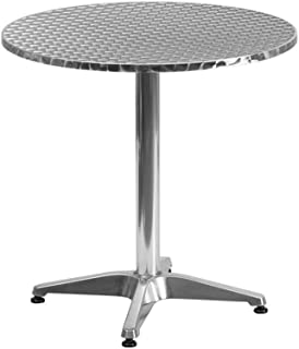Adumly Size 27.5'' Round Aluminum Indoor-Outdoor Restaurant Table with Base