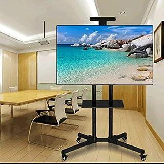 حامل تلفزيون مقاس 32 بوصة حتى 70 بوصة، عجلات مع كسر، قابلة للطي، لون اسود، لتلفزيونات LED/LCD، رف كاميرا ورف مستقبل