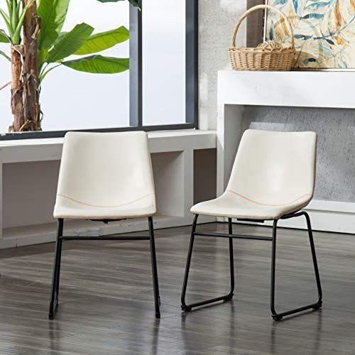 Roundhill Furniture Lotusville PU Leather Dining Chairs, Set of 2, Brown