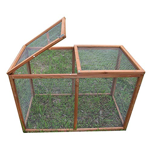 GOJOOASIS 40' Outdoor Wooden Chicken Coop Hen House Poultry Cage w/ Wire Fence Indoor and Outdoor Use (B)