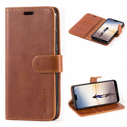 Mulbess Handyhülle für Huawei P20 Lite Hülle Leder, Huawei P20 Lite Handy Hülle, Vintage Flip Handytasche Schutzhülle für Huawei P20 Lite Hülle, Braun