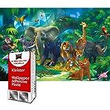 GREAT ART Foto Mural Infantil Animales de la Selva Poster Jungla Decoracion Habitacion Ninos 210 x 140 cm - Papel Pintado 5 Piezas incluye Pasta para pegar
