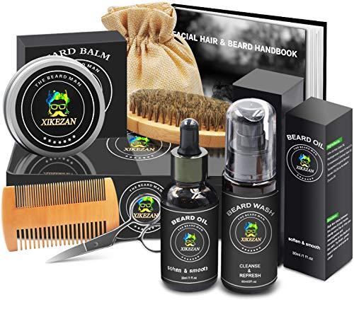 Beard Growth Grooming Kit w/Beard Shampoo/Wash,Beard Growth Oil,Beard Balm Conditioner,Brush,Comb,Scissor,Beard Care Products,Unique Boyfriend Gifts for Men