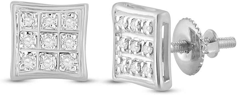 10kt White Gold Mens Round Diamond Square Earrings 1/20 Cttw