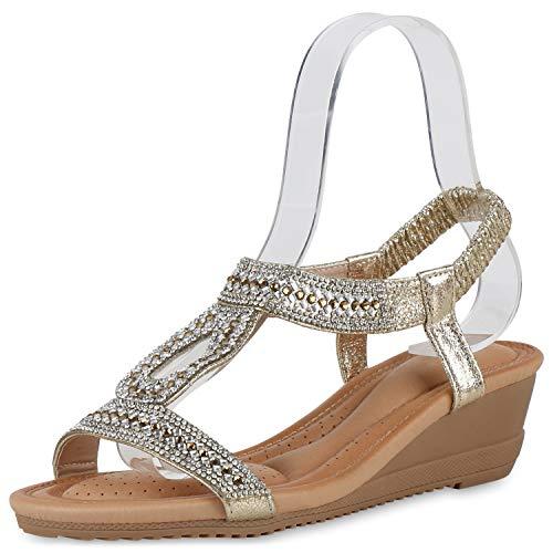 SCARPE VITA Damen Sandaletten Keilsandaletten Strass Cut-Outs Profilsohle Sommer Freizeitschuhe Beqeume Keilabsatz Schuhe 195450 Gold 37