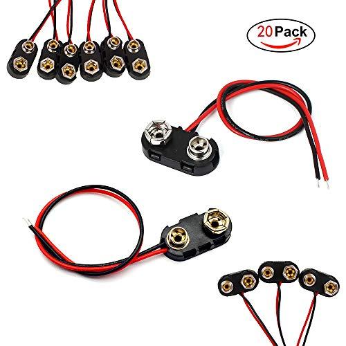 FUJIE 20 Stück Batterie Clip Anschluss I Und T Typ 9V Batterie Clip Stecker Anschluss mit 15cm Anschlusskabel schwarz Hartkunststoffgehäuse DC Netzstecker Batteriehalter Clip