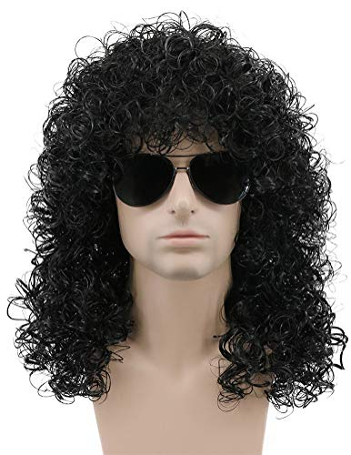 Karlery 70s 80s Rocker Mullet Wig Mens Long Curly Black Wig Halloween Party Costume Wig
