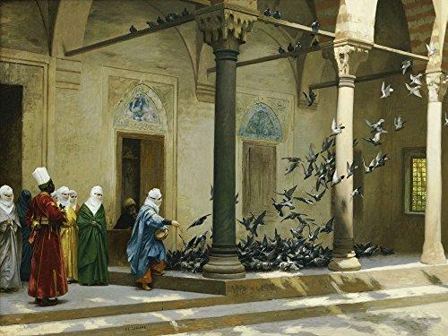 Artland Alte Meister Premium Wandbild Jean-Léon Gérome Bilder Poster 60 x 80 cm Haremsdamen beim Tauben füttern Kunstdruck Wandposter Klassizismus R2AA