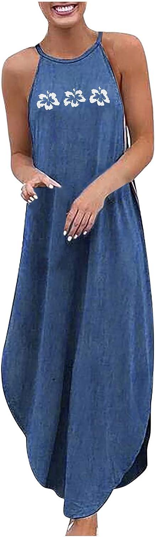 Sun Dresses Women Summer Women's Loose Plus Size Denim Sleeveless Halterneck Print Vest Long Dress Womens Dresses