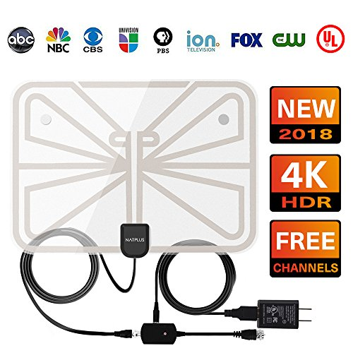 TV Antenna,2018 Upgrade Digital TV Antenna Best 50+ Miles Range with Amplifier Signal Booster for Indoor, UL USB Power Supply and 16.5FT High-Performance Coax Cable-1080P 4K Ready for FUN-Transparen