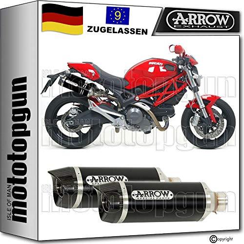 Arrow - Tubo de escape doble homologado con homologación CC, compatible con Ducati Monster 696 2008 2009 2010 2011 2012 71731AKN+11005KZ, color negro