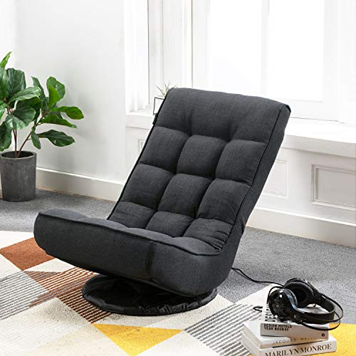 Altrobene High Back Swivel Gaming Chair Rocker, 5-Position Adjustable Folding Floor Chair, Comfortable Padded Cushion & Backrest, idea for Teens Adults, Black
