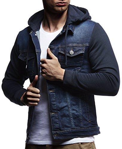 Leif Nelson Herren Sweat-Jacke Denim Vintage Jeans-Jacke für Männer mit Kapuze Slim-Fit Langarm Freizeit Hoodie verwaschen Casual LN5615 Blau Medium