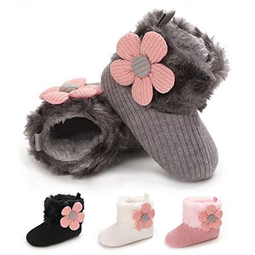Baby Boys Girls Soft Sole Anti-Slip Mid Calf Warm Winter Infant Prewalker Toddler Snow Boots (12-18months, Brown)